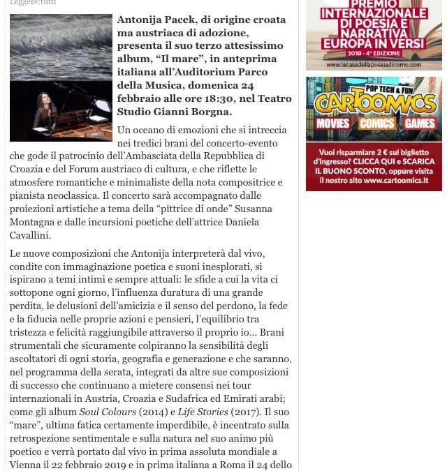 LEGGERE TUTTI magazine supports my concert at Auditorium