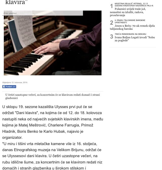Glas Slavonije reports about our concert on Brijuni