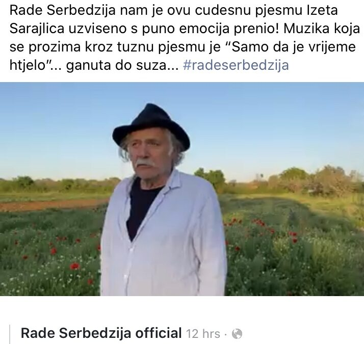 Rade Serbedzija interprets Sarajlic with my new song