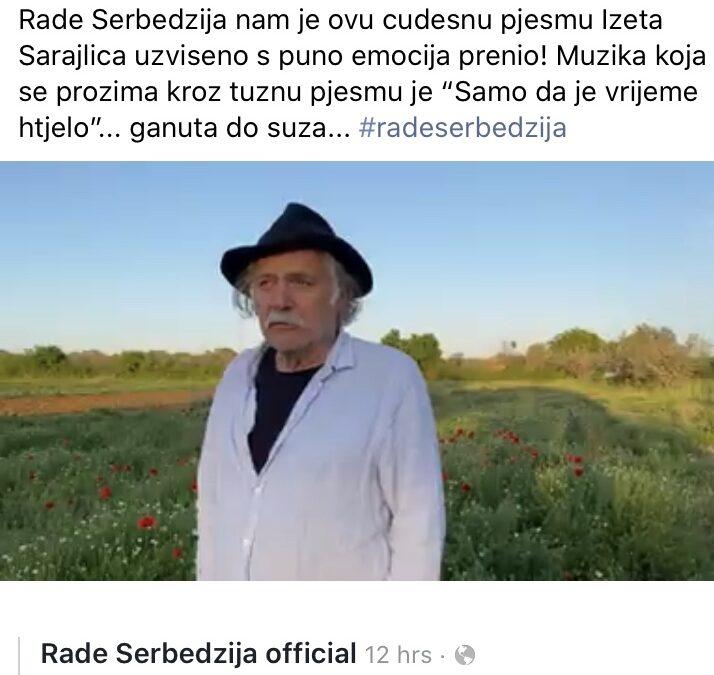 Rade Serbedzija interprets Sarajlic with my new song